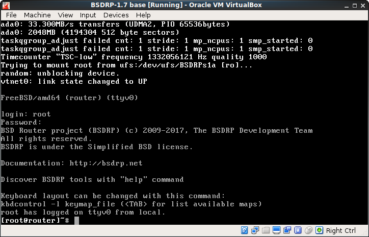 BSDRouter Project VirtualBox 5 1  ova image with DHCP and