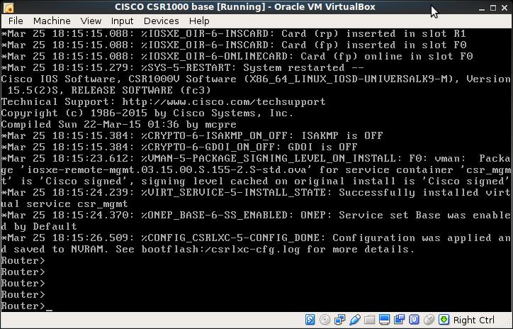 CSR1000 on ORACLE's VirtualBox 5 1 at Debian Stretch